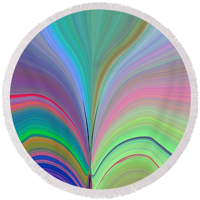 Flower Round Beach Towel featuring the digital art Elation by Tim Allen