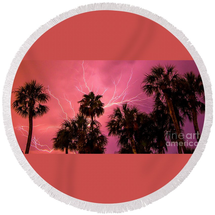Lightning Round Beach Towel featuring the photograph Electrified Palms by Stephen Whalen