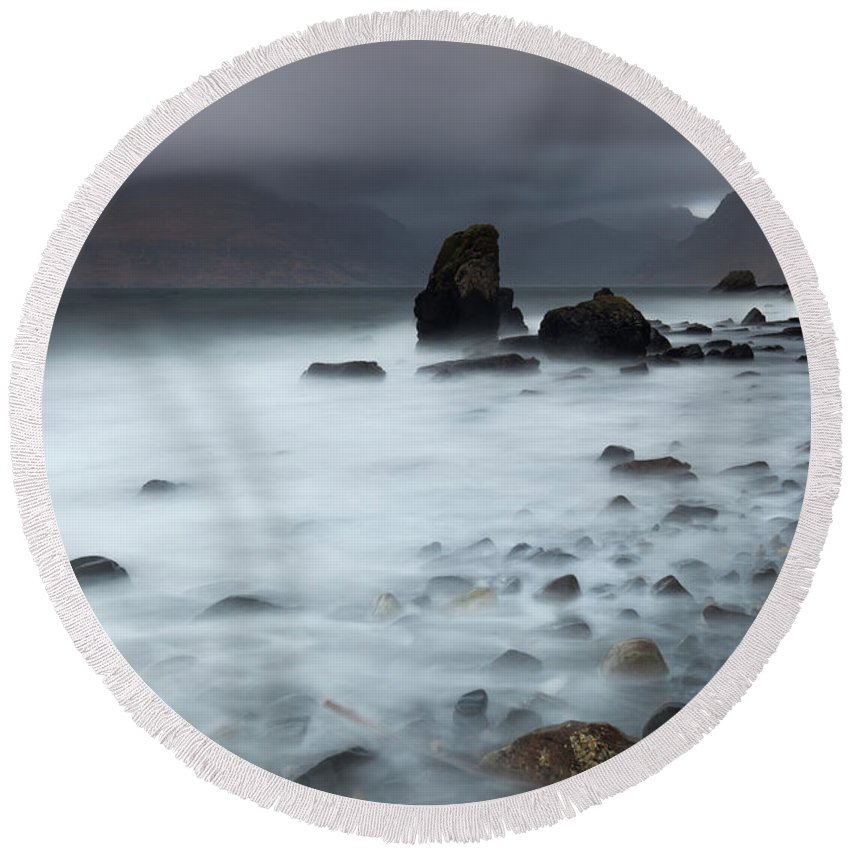 Beach Round Beach Towel featuring the photograph Elgol Beach by Karl Thompson
