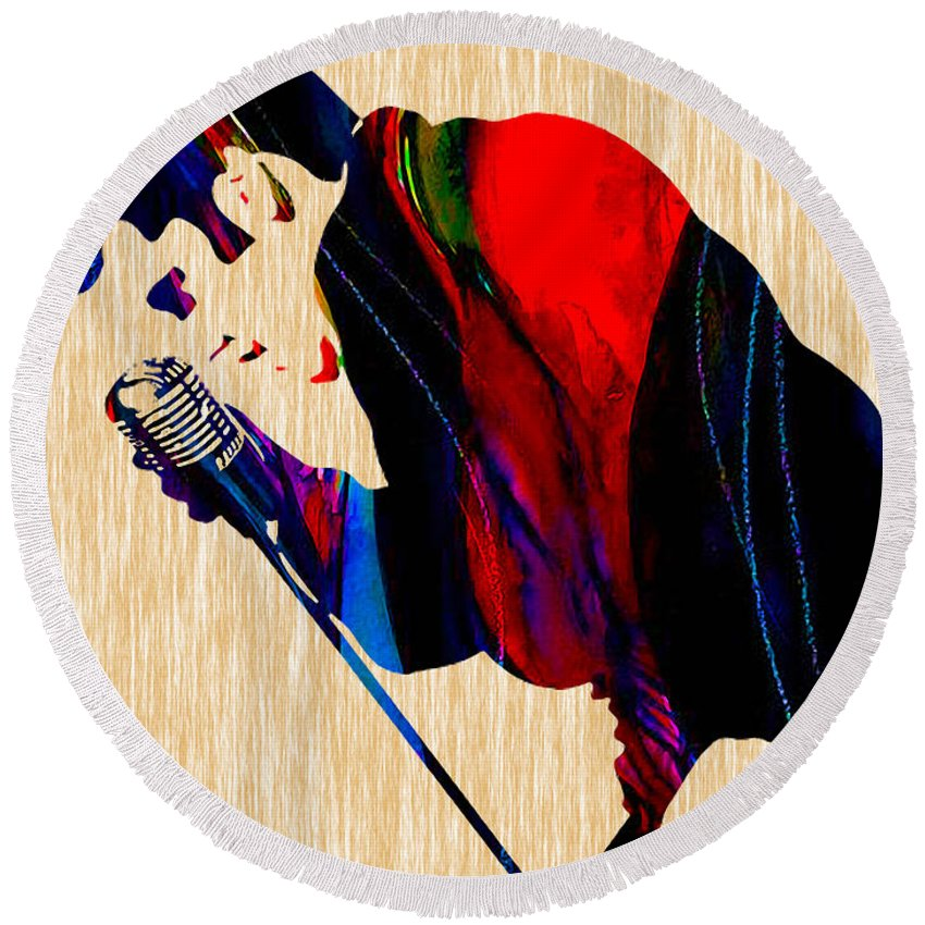 Elvis Round Beach Towel featuring the mixed media Elvis Presley by Marvin Blaine