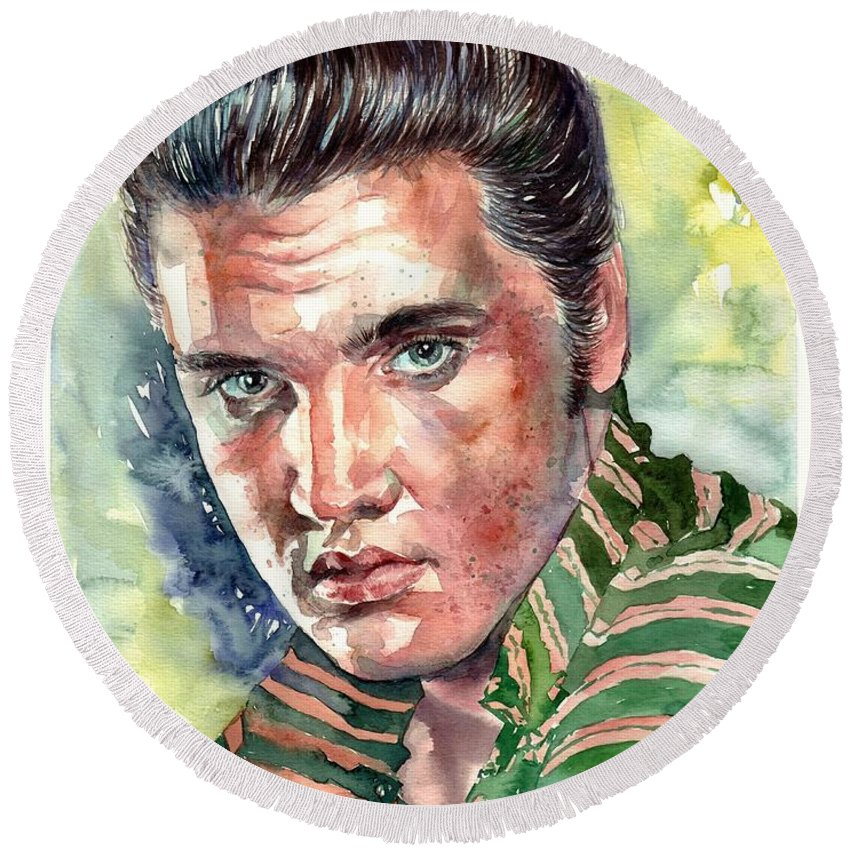 Elvis Round Beach Towel featuring the painting Elvis Presley portrait by Suzann Sines