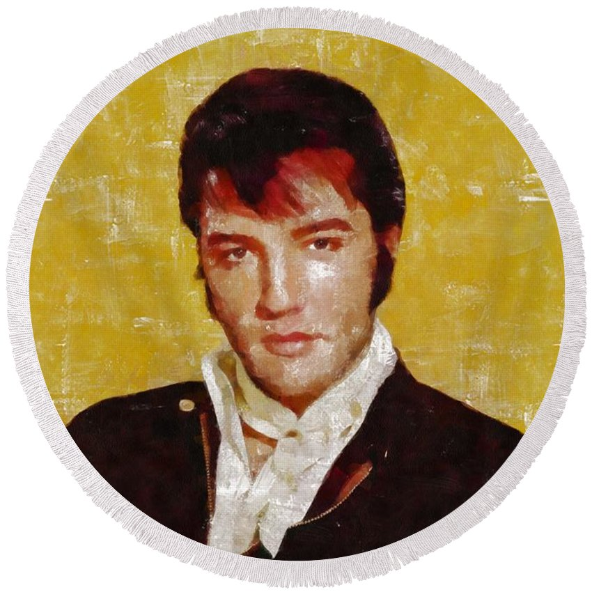 Music Round Beach Towel featuring the painting Elvis Presley Y Mb by Mary Bassett