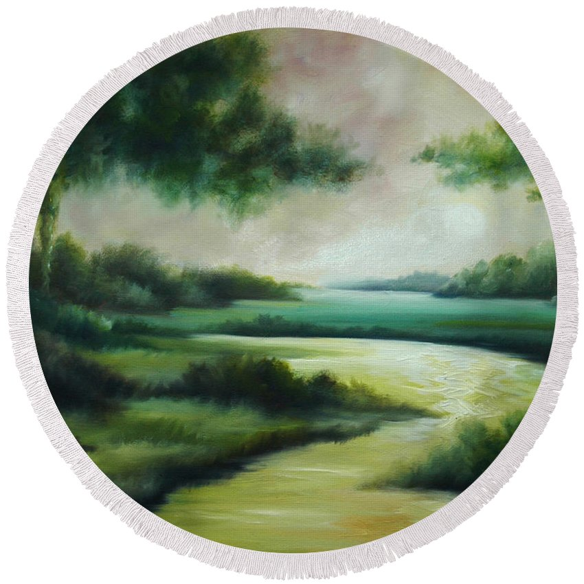 Bright Clouds; Sunsets; Reflections; Ocean; Water; Purple; Orange; Storms; Lightning; Contemporary; Abstract; Realism; James Christopher Hill; James Hill Studios; James C. Hilll; Forest; Flowers; Trees; Green; River; Water Round Beach Towel featuring the painting Emerald Forest by James Christopher Hill