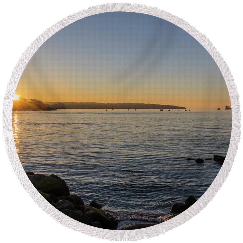 British Columbia Round Beach Towel featuring the photograph English Bay Sunset by Ross G Strachan