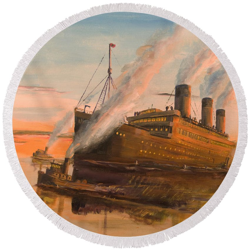 Ship Round Beach Towel featuring the painting Evening Departure by Christopher Jenkins