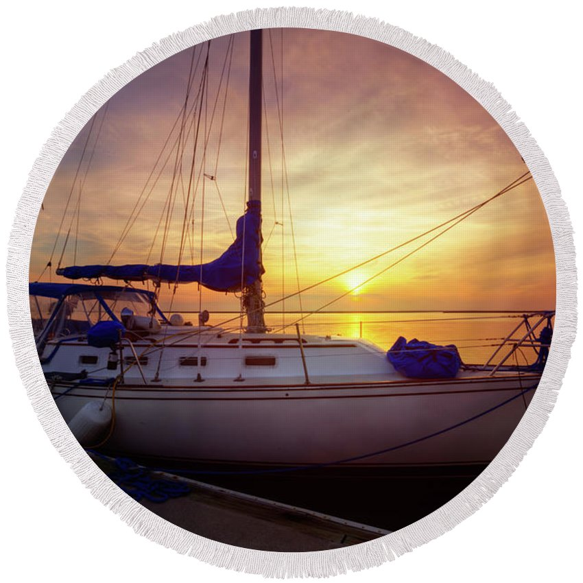 Boats Round Beach Towel featuring the photograph Evening Harbor At Rest by Debra and Dave Vanderlaan