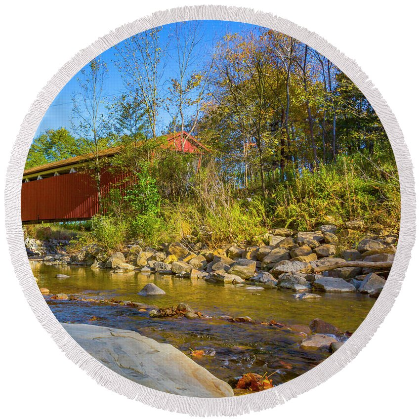 Bridge Round Beach Towel featuring the photograph Everett Covered Bridge by Jack R Perry