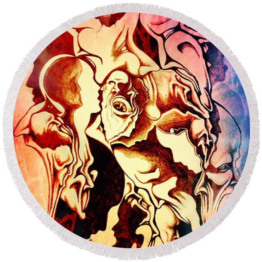Michael Tmad Finney Round Beach Towel featuring the digital art Evolution In Mind by Michael TMAD Finney