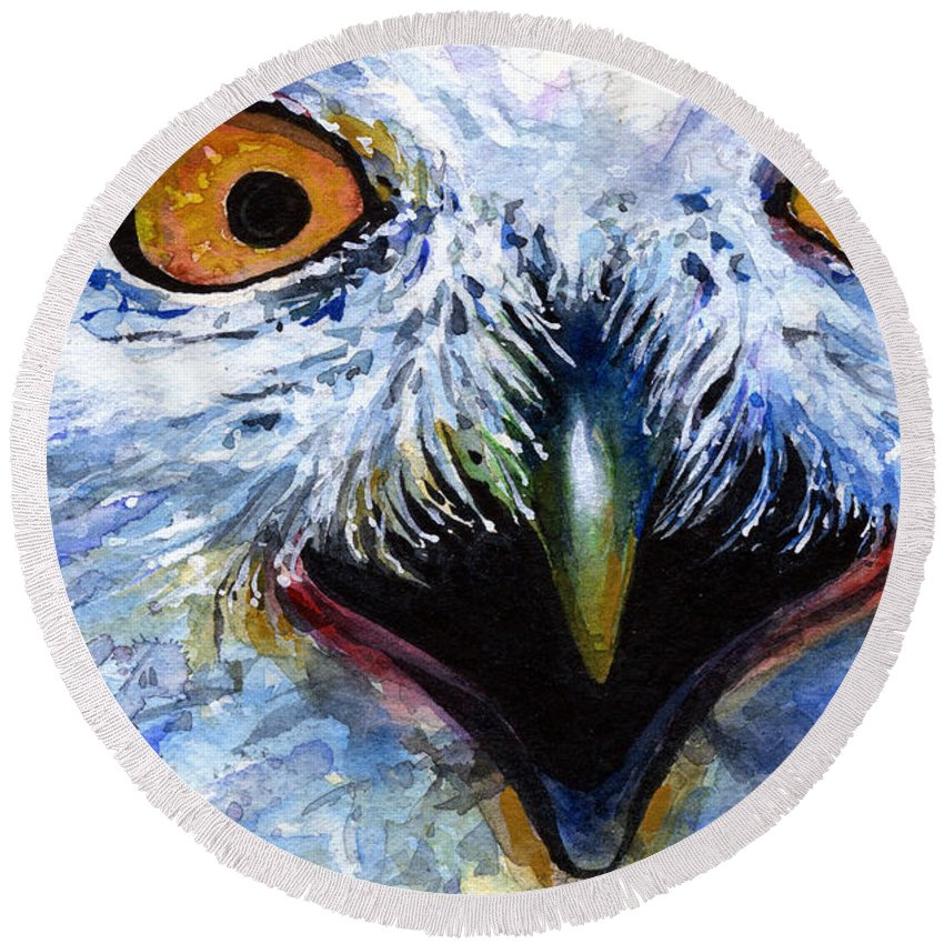 Eye Round Beach Towel featuring the painting Eyes Of Owls No. 15 by John D Benson