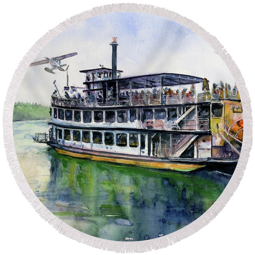Fairbanks Round Beach Towel featuring the painting Fairbanks Paddle Wheel by John D Benson