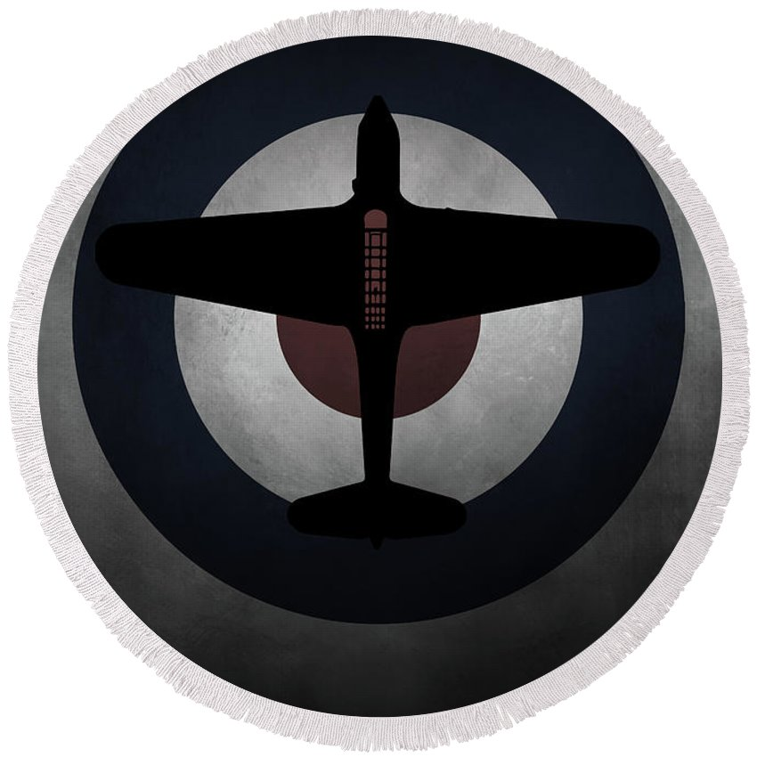 Fairey Round Beach Towel featuring the digital art Fairey Battle by J Biggadike