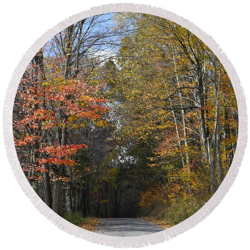 Fall Scene Round Beach Towel featuring the photograph Fall Lane by Penny Neimiller