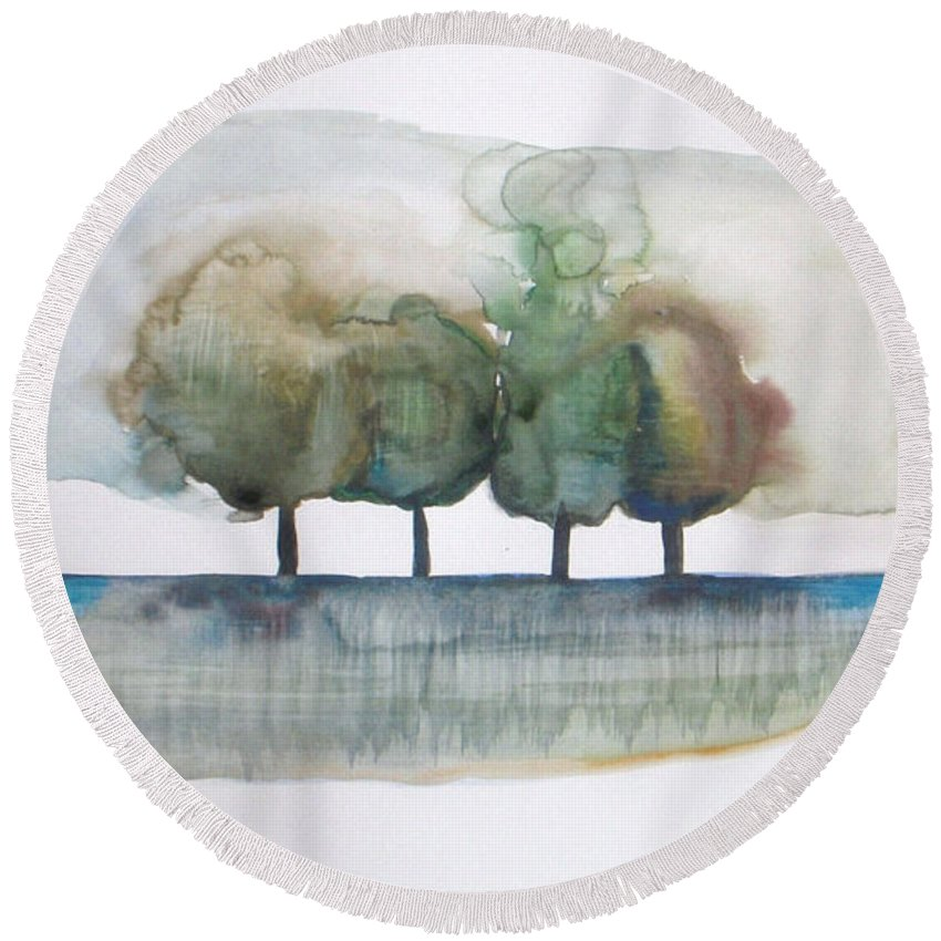 Trees Round Beach Towel featuring the painting Family Trees by Vesna Antic