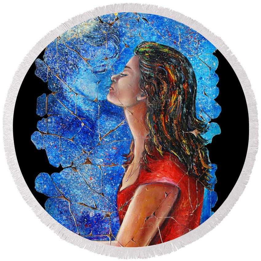 Adieu Round Beach Towel featuring the painting Farewell 2 by Lena Owens OLena Art