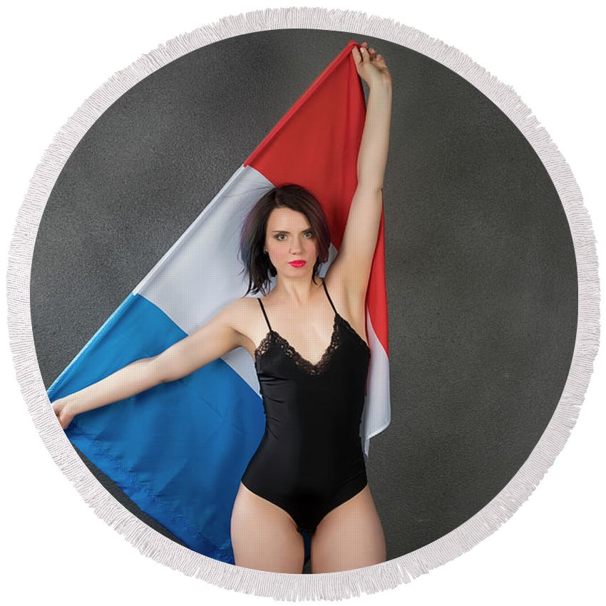 Flag Round Beach Towel featuring the photograph Fashion # 116 by Igor Smirnoff