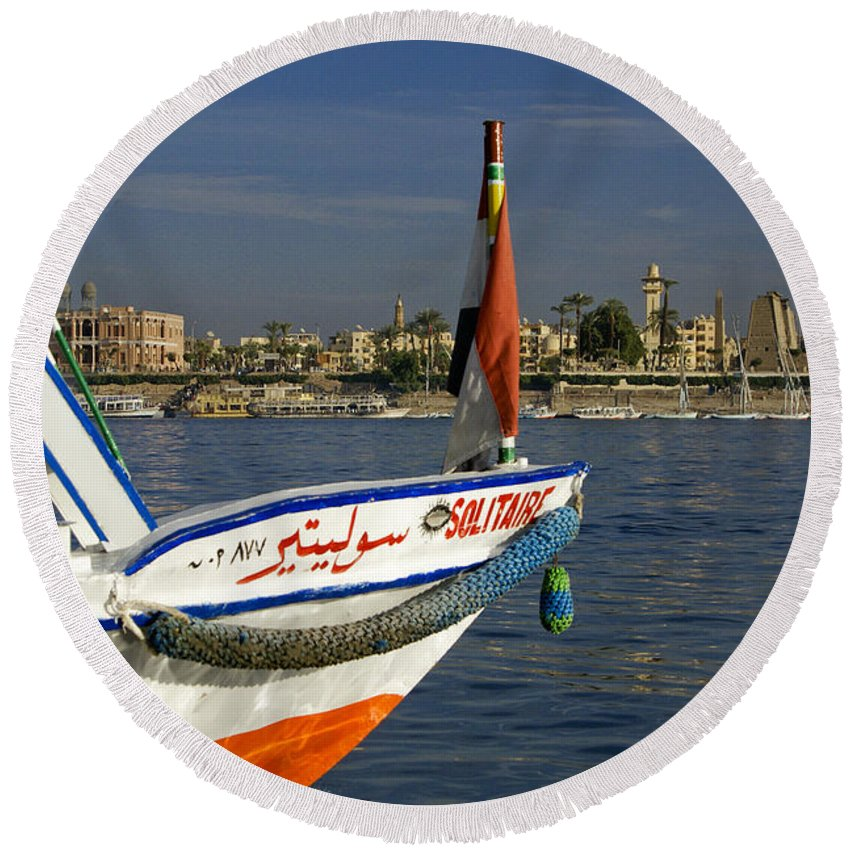 Egypt Round Beach Towel featuring the photograph Felucca On The Nile by Michele Burgess