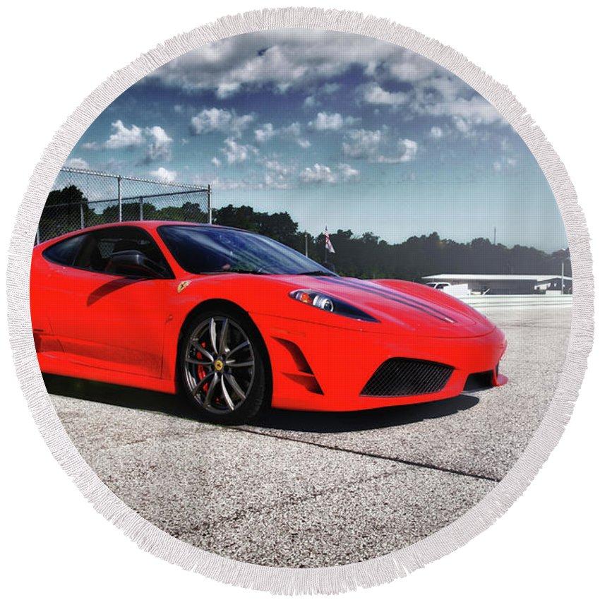 Ferrari Round Beach Towel featuring the photograph Ferrari F430 by Joel Witmeyer