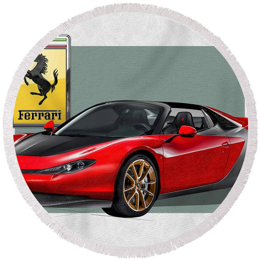 �ferrari� Collection By Serge Averbukh Round Beach Towel featuring the photograph Ferrari Sergio with 3D Badge by Serge Averbukh