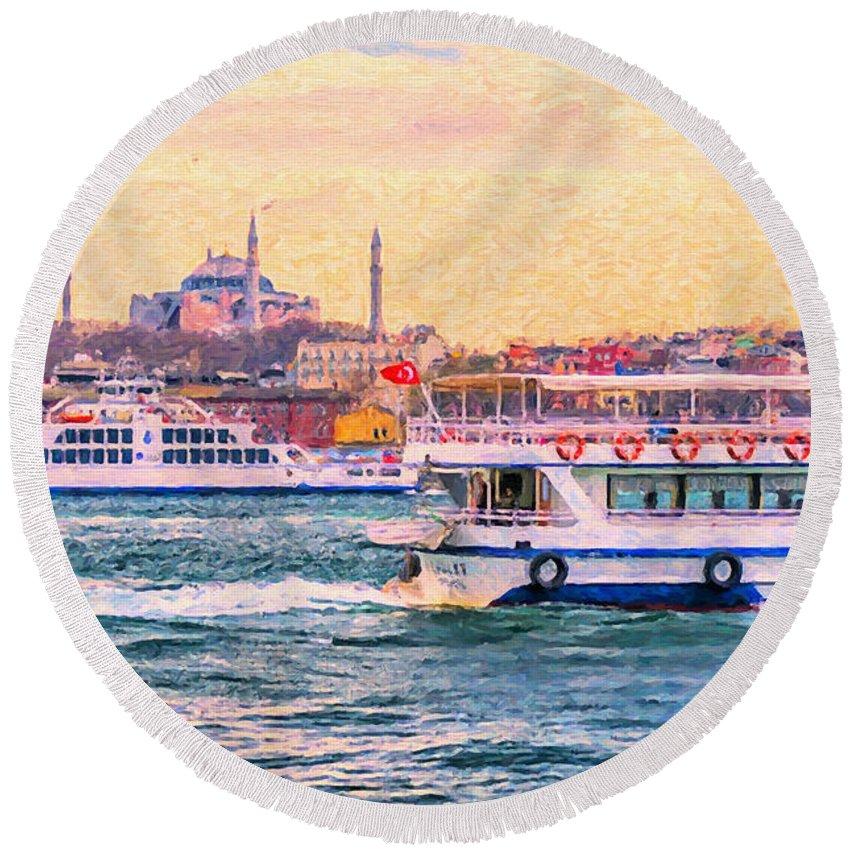 Digital Round Beach Towel featuring the painting Ferry Traffic On The Bosphorus by Antony McAulay