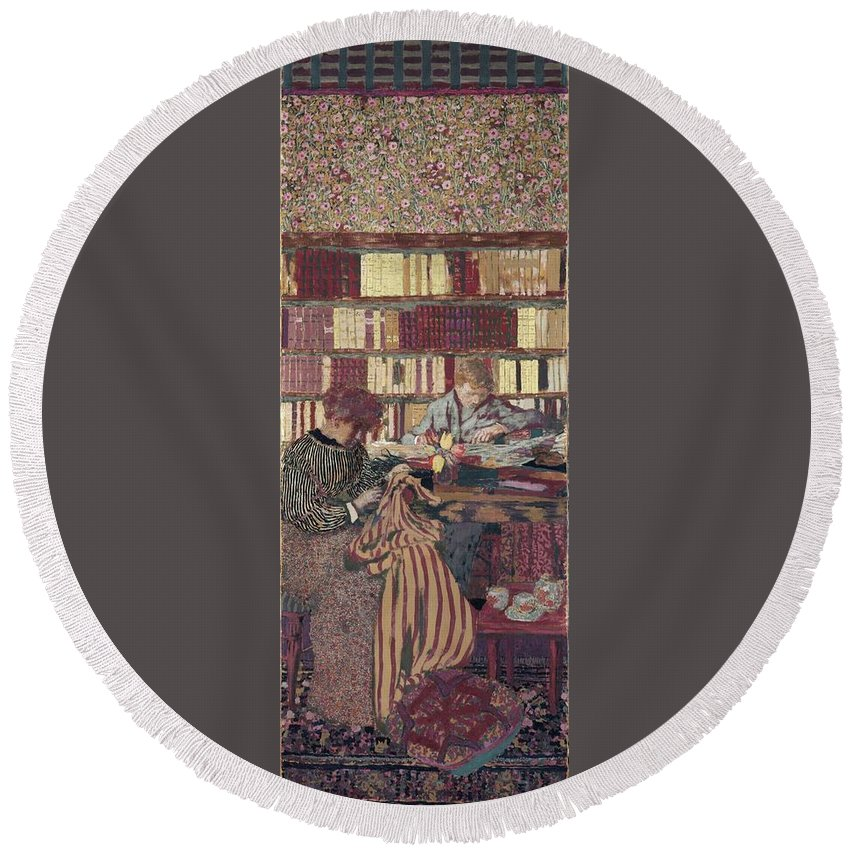 Figures In An Interior Round Beach Towel featuring the painting Figures In An Interior by Edouard Vuillard