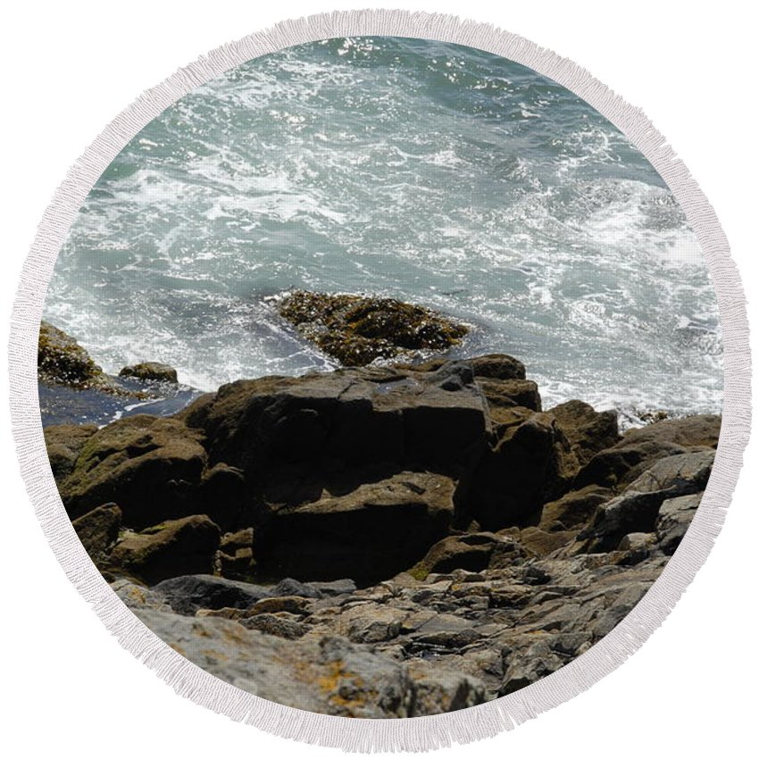 Fine Art - Water & Rocks- St Ives Round Beach Towel featuring the photograph Fine Art Water And Rocks by Jenny Potter
