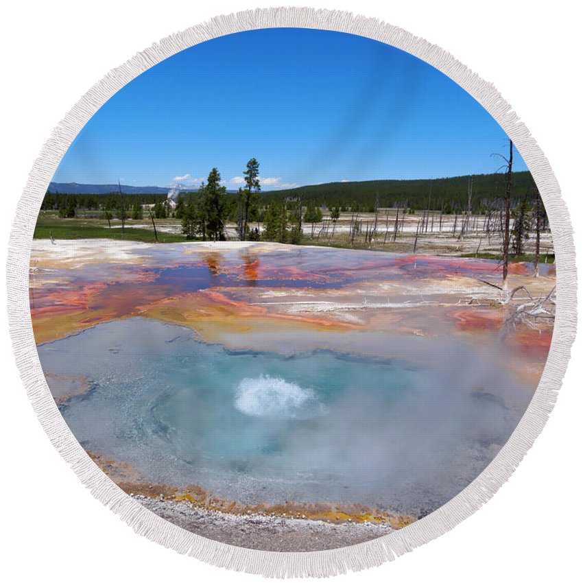 Firehole Spring Round Beach Towel featuring the photograph Firehole Spring In Yellowstone National Park by Louise Heusinkveld