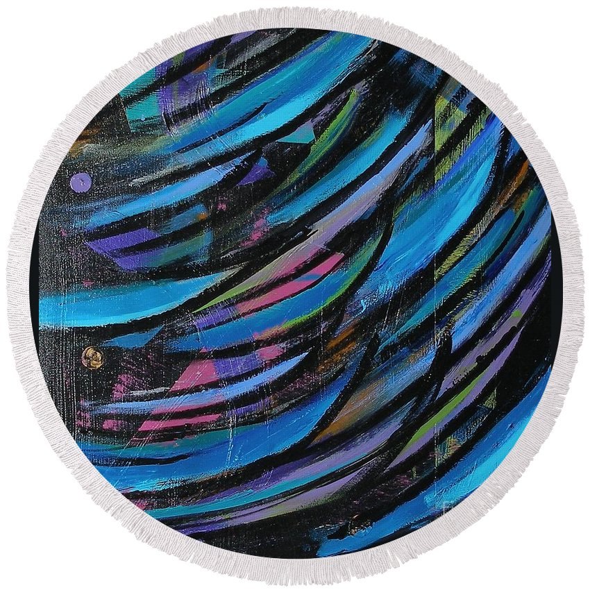 Blue Round Beach Towel featuring the painting Fireworks by Maria Bonnier-Perez