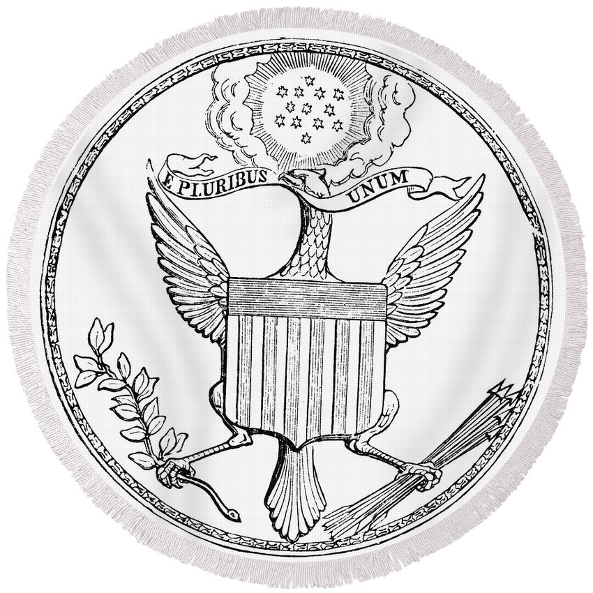 1782 Round Beach Towel featuring the photograph First U.s. Seal, 1782 by Granger