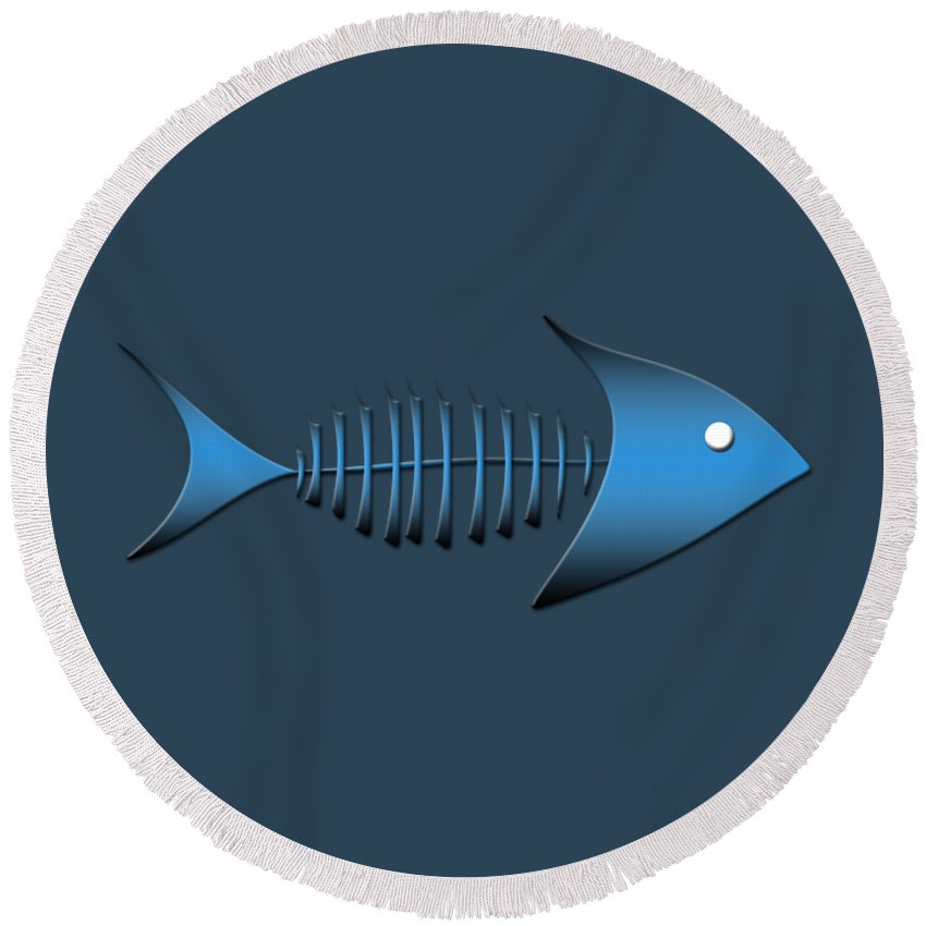 Logos Round Beach Towel featuring the digital art Fish by Bill Owen