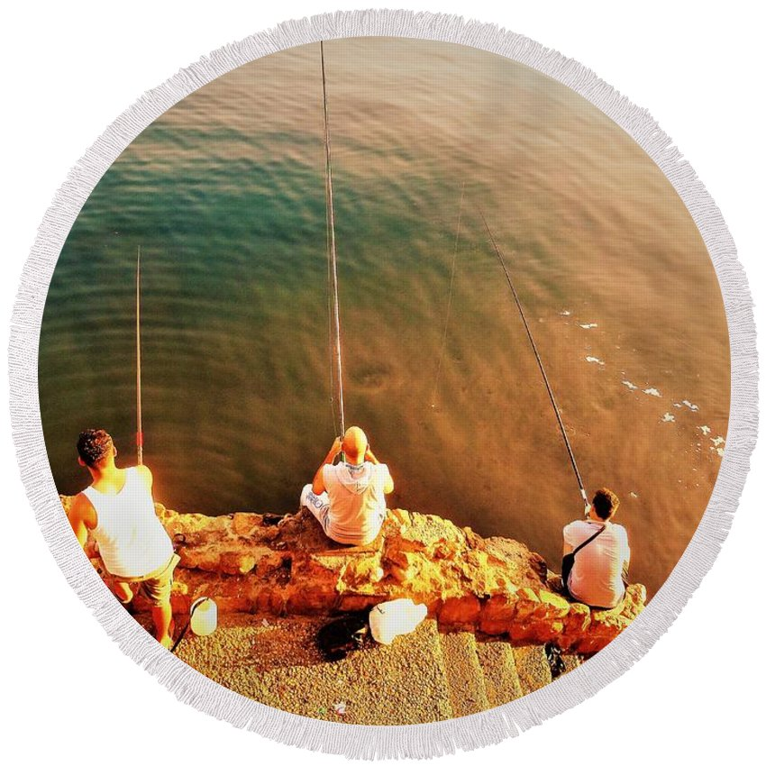 Beirut Round Beach Towel featuring the photograph Fishermen In Beirut by Funkpix Photo Hunter