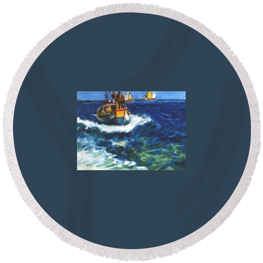 Fishing Round Beach Towel featuring the painting Fishing Boat by Guanyu Shi