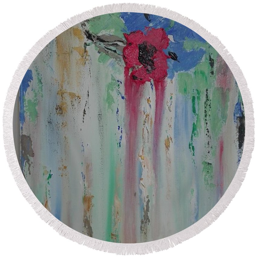 Abstract Round Beach Towel featuring the painting Flori by Clara Tanasie