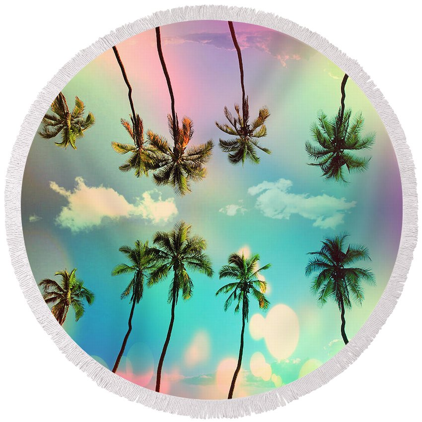 Venice Beach Round Beach Towel featuring the photograph Florida by Mark Ashkenazi
