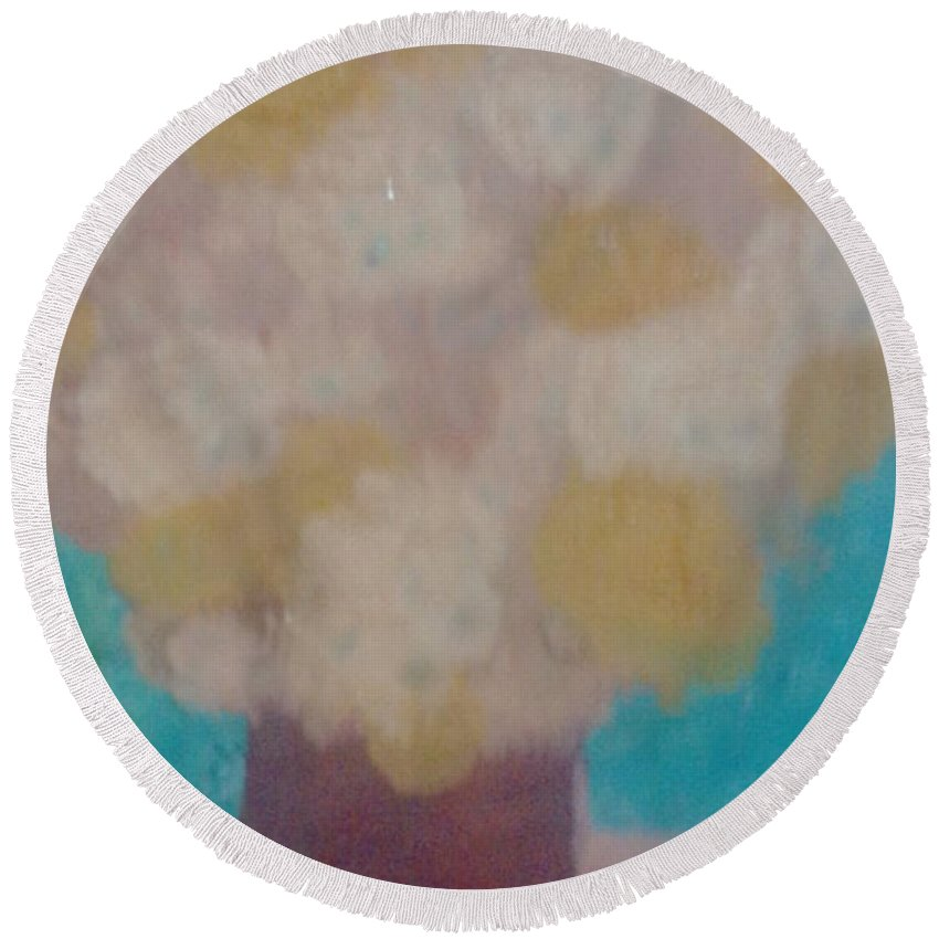 Flowers Round Beach Towel featuring the painting Flower Pot by Lucia Stefanovici