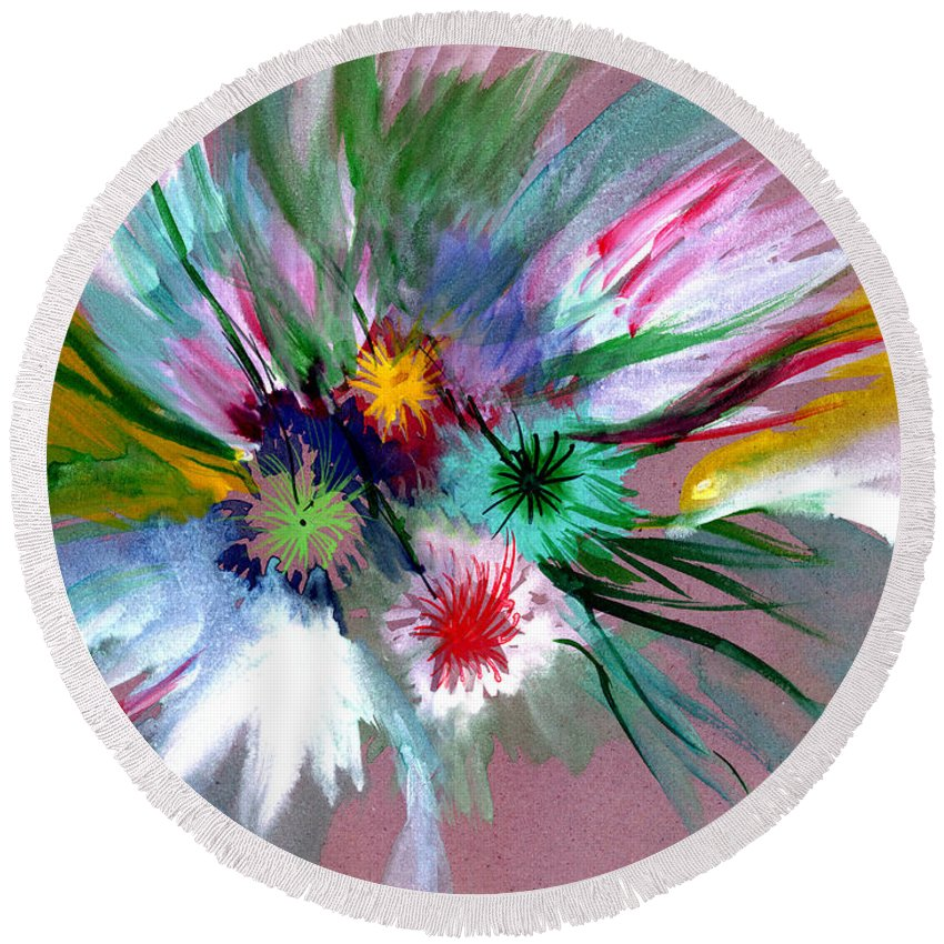 Flowers Round Beach Towel featuring the painting Flowers by Anil Nene