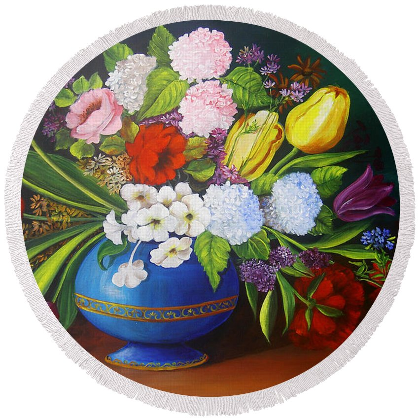 Colorful Round Beach Towel featuring the painting Flowers In A Vase by Dominica Alcantara