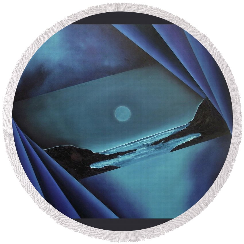 Round Beach Towel featuring the painting Flowing Through by Ara Elena