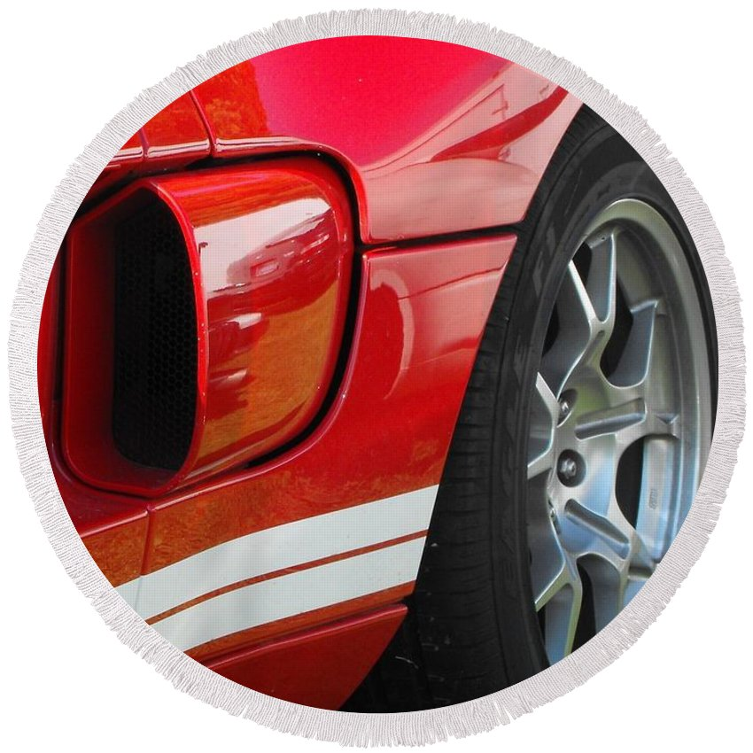 Ford.car Round Beach Towel featuring the photograph Ford Gt by Neil Zimmerman