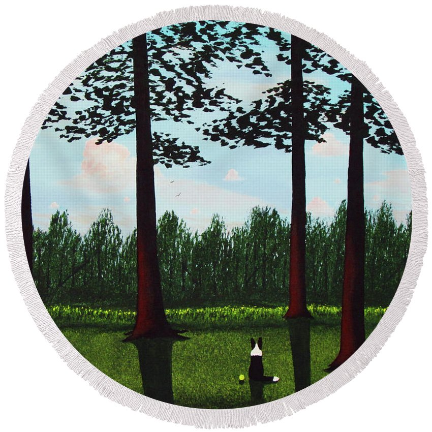 Border Round Beach Towel featuring the painting Forest Edge by Todd Young