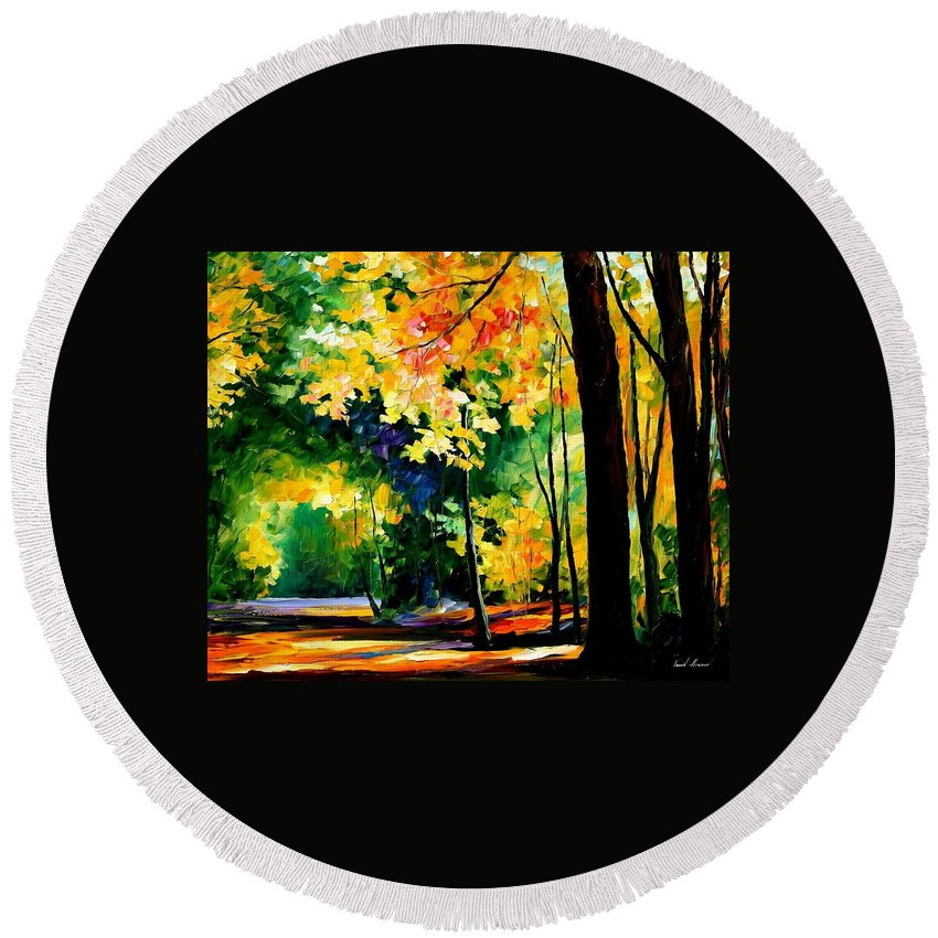 Landscape Round Beach Towel featuring the painting Forest by Leonid Afremov