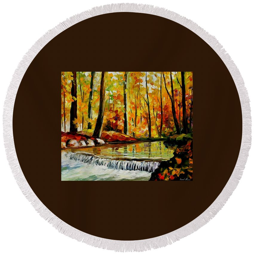 Afremov Round Beach Towel featuring the painting Forest Stream by Leonid Afremov