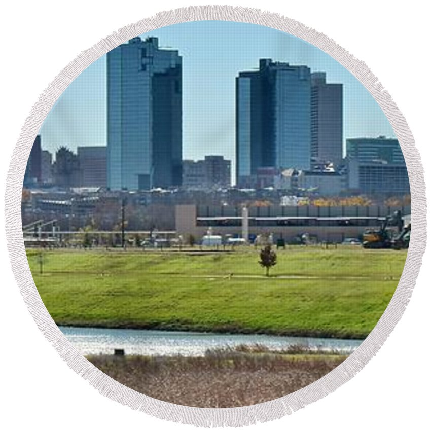 Fort Round Beach Towel featuring the photograph Fort Worth Panorama by Frozen in Time Fine Art Photography