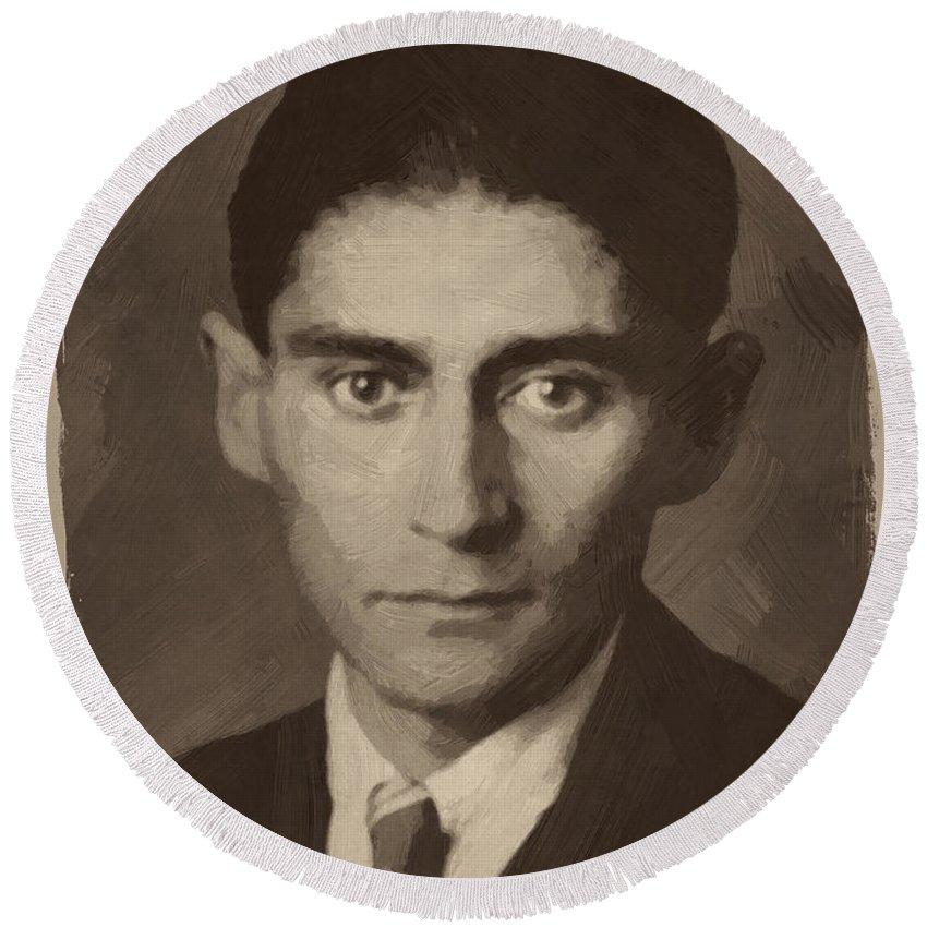 Franz Kafka Round Beach Towel featuring the digital art Franz Kafka by Afterdarkness
