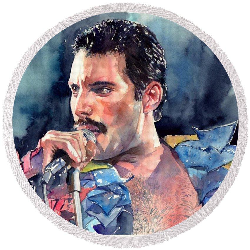 Freddie Round Beach Towel featuring the painting Freddie Mercury portrait by Suzann Sines