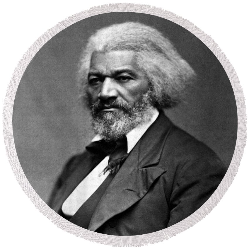 Frederick Douglass Round Beach Towel featuring the photograph Frederick Douglass Photo by War Is Hell Store