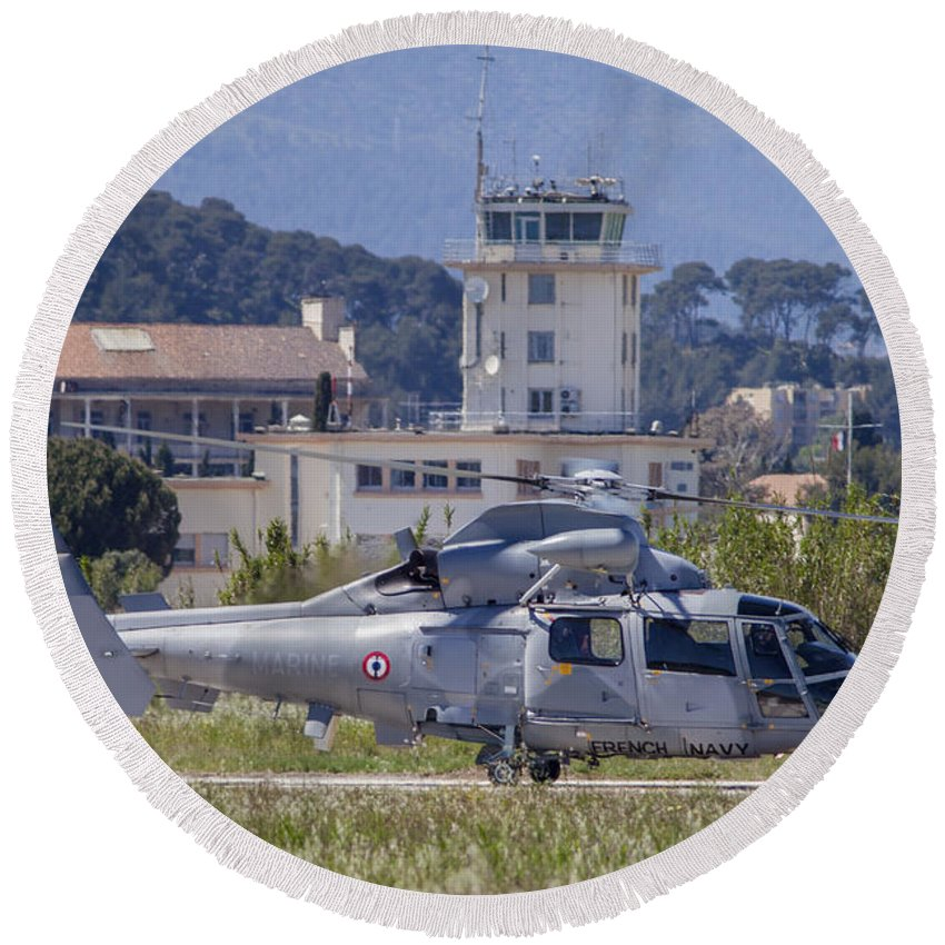 Horizontal Round Beach Towel featuring the photograph French Navy As565 Panther Helicopter by Timm Ziegenthaler