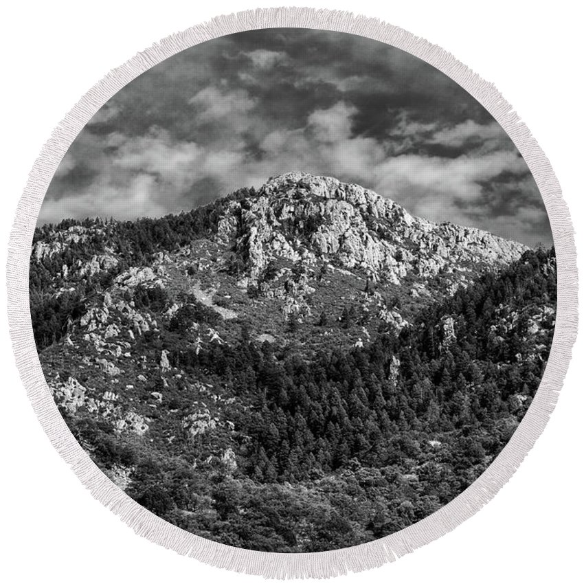 Black And White Round Beach Towel featuring the photograph From Bog Spring Trail by Charles Norkoli