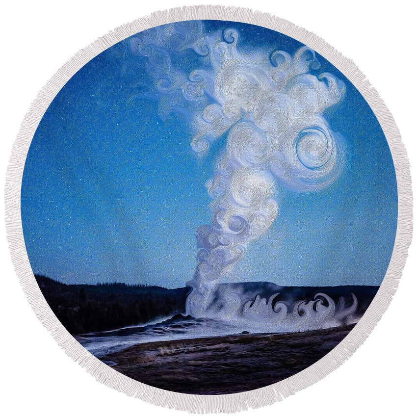 Old Faithful Round Beach Towel featuring the photograph Full Moon And Old Faithful by Mikeal Beland