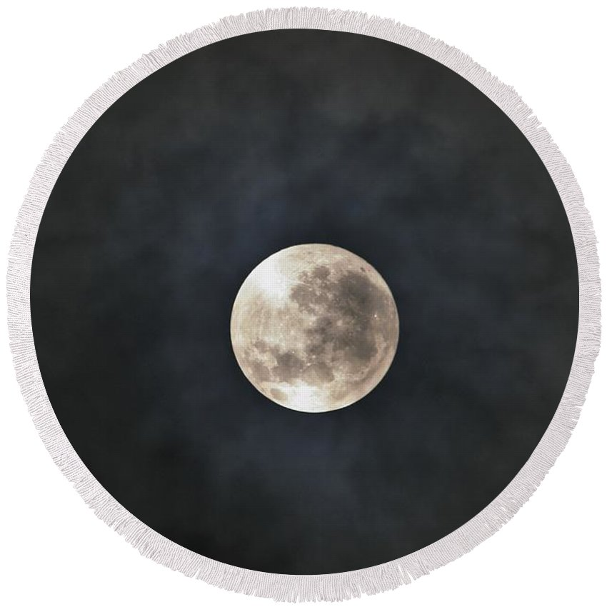Moon Round Beach Towel featuring the photograph Full Moon by FL collection