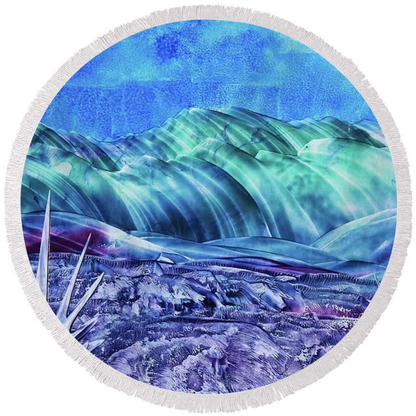 Encaustic Round Beach Towel featuring the painting Gallup by Melinda Etzold
